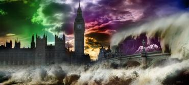 London skyline set against a rising tsunami